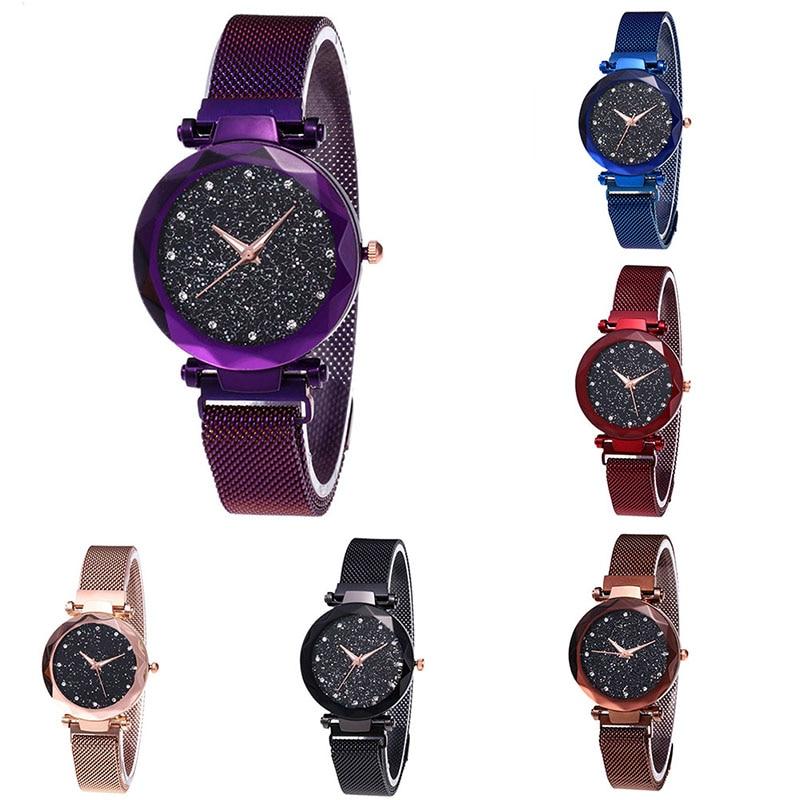 Women Watches Starry Sky Magnetic Female Wristwatch Rhinestone Clock Watch