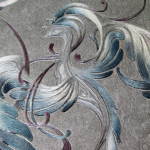 high-end Chinese ancient Phoenix embroidery stereoscopic wall paper living room TV background wallpaper