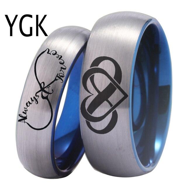 YGK Couple Wedding Đồ Trang Sức Cho Những Người Yêu Thích Couple Tungsten Nhẫn Bạc Với Màu Xanh Tungsten Nhẫn Cưới infinity tim Luôn Luôn & Mãi Mãi