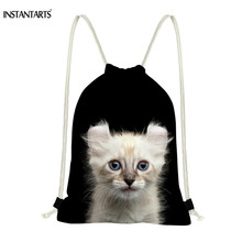 INSTANTARTS Fashion Women Drawstring Bag Black Bag 3D Cat Kitty Print Storage Bag Soft Beach Bags Kids Boys Girls Sack Backpacks