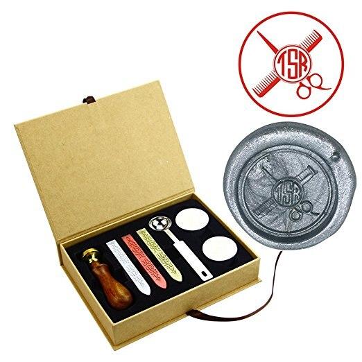 Schere Kamm Benutzerdefinierte Monogramm Namen Wachssiegel Briefmarken Sets Hochzeitseinladung Umschlag Messing Dicht Briefmarken