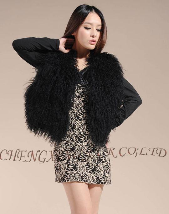 Cx-g-b-51genuine монгольского ягненка овец Мех животных жилет женские пикантные короткие жилет зимнее пальто Меховая куртка - Цвет: Black