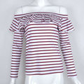 Vintage casual bodies woman sexy off shoulder top shirts red white striped lotus collar long sleeve top blusa con volantes S/M/L