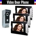 7-дюймовый монитор видеодомофон дверной звонок Система ИК ночного видения вызов и домофон видеодомофон комплект 3-монитор
