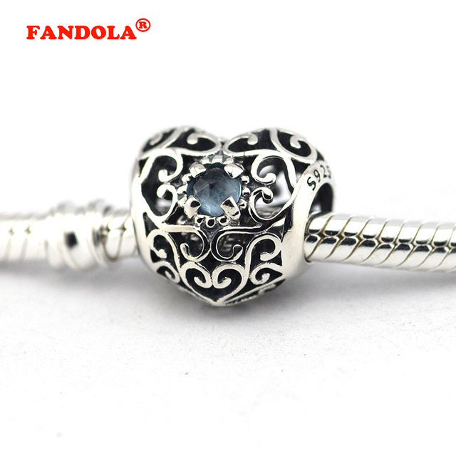 22b8fb1d5 Fits for Pandora Charms Bracelets September Signature Heart Beads with Synthetic  CZ 100% 925 Sterling-Silver-Jewelry Free Ship