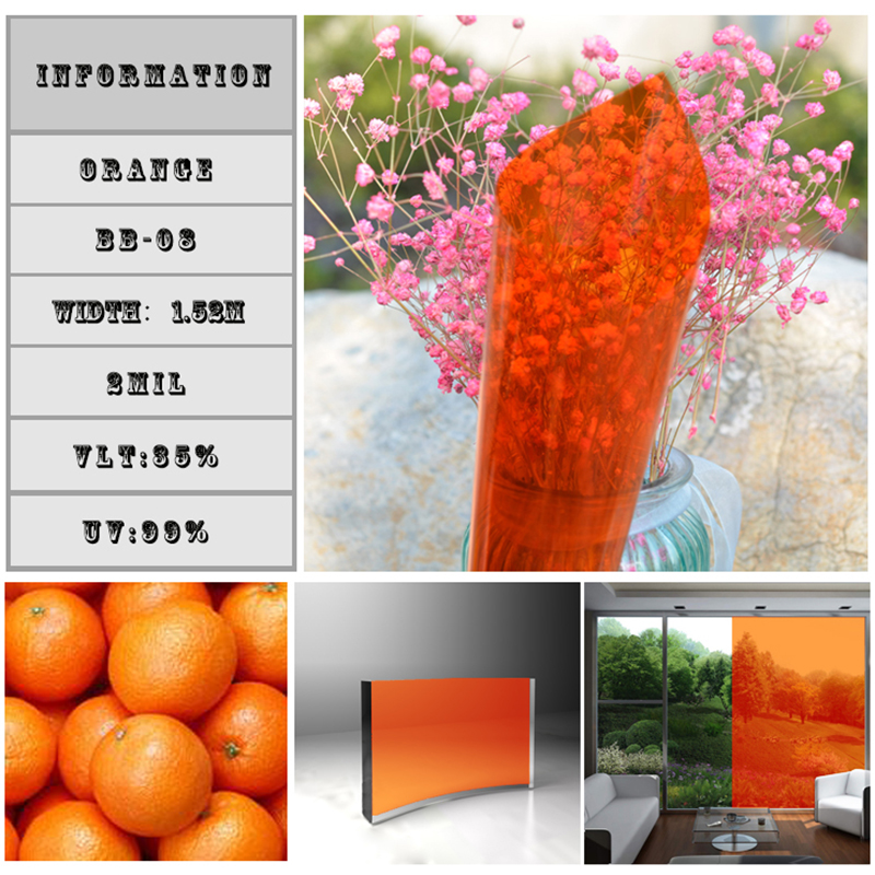 1.52x10m Orange Color 35% Vlt Architectural Window Film Sun control window foils