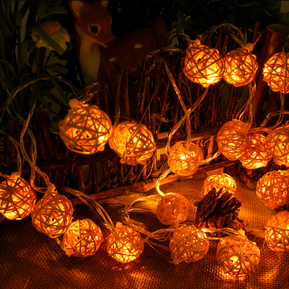 5m 20 led warm white rattan ball led string lighting holiday christmas wedding party curtain decoration - Outdoor Christmas Balls