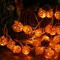 Conectável 5 M 20 leds luzes de natal ao ar livre indoor Rattan Bola CONDUZIU a Iluminação Corda Decoração da Festa de Casamento luzes de fadas