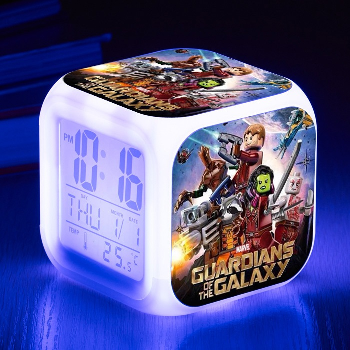 Guardians Of the Galaxy 2 Potted Tree Man Led Alarm Clock 7 colors changing Night Light Action Figure Toys Rocket Star-Lord Gift