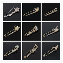 Hot Sale Crystal Flower Brooch Fancy Rose Gold Tone Bridesmaid Dress Gold Plated Brooch With Safety Pin Bijoux For Women Wedding