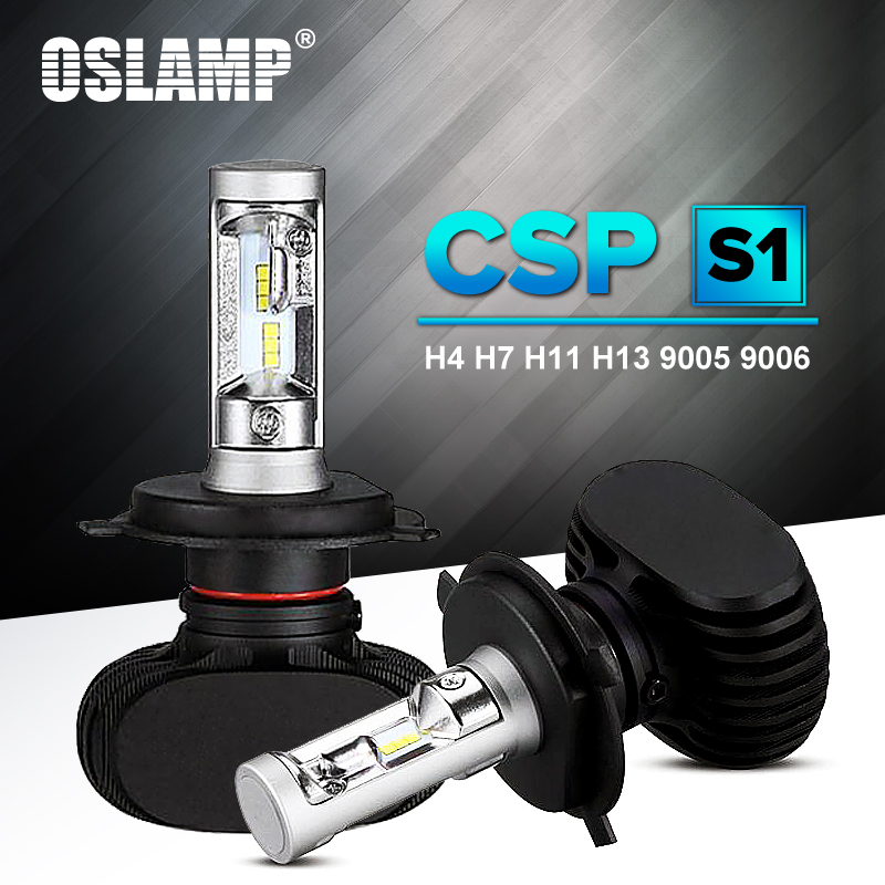 H7 Oslamp Auto Levou Farol H13 9005 HB3 9006 CSP Chip 50 H4 HB4 Led Car Bulb 6500 K W fan-less H8 H11 8000lm Lâmpada All-in-one