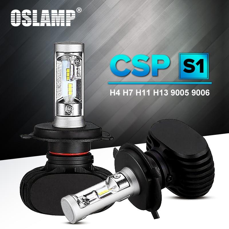 H7 Oslamp Auto Levou Farol H13 9005 HB3 9006 CSP Chip 50 H4 HB4 Led Car Bulb 6500 K W fan-less H8 H11 8000lm Lâmpada All-in-one