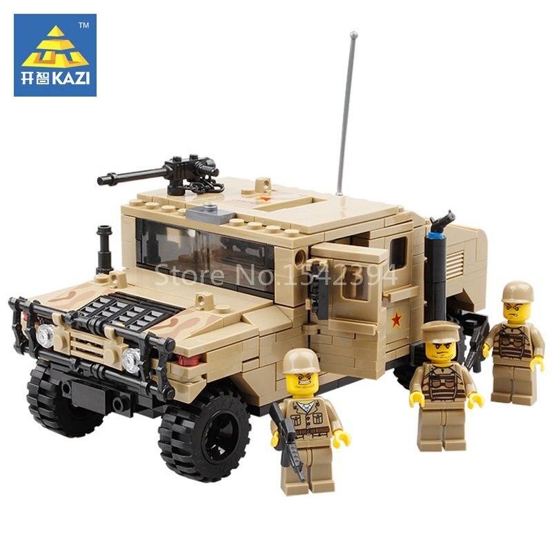 KAZI Hummer H1 Army Field Force Military Model Building Kits Blocks Brick Set Educational Toys For Children Festival Friend Gift
