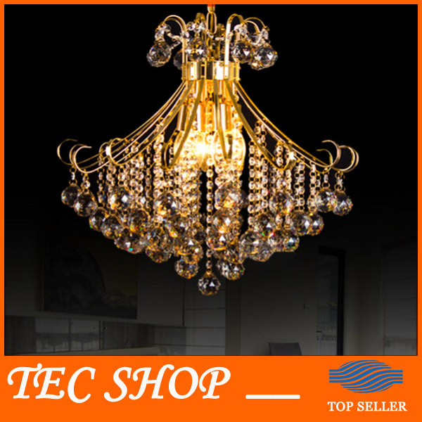 купить JH Modern Luxury Crystal Chandelier Home Lighting Gold Lamp Holder Creative Living Room Restaurant LED Crystal Lamp E14 Base онлайн