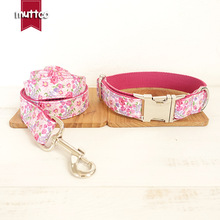 Classical Pink Flowers Fashion Design Pitbull Dog Collar & Leash Set Nylon Dog Leash Rope Para Cachorros Produtos Lead For Dogs