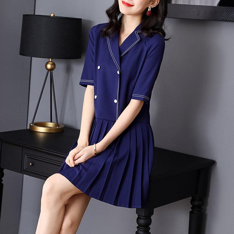 Été Mignon Plissée Col 2019 Robe Couleur Droite Qualité Bloc Coutures Patchwork De Entaillé Haute Printemps Mini Dame Femmes T1wxSXXgqC