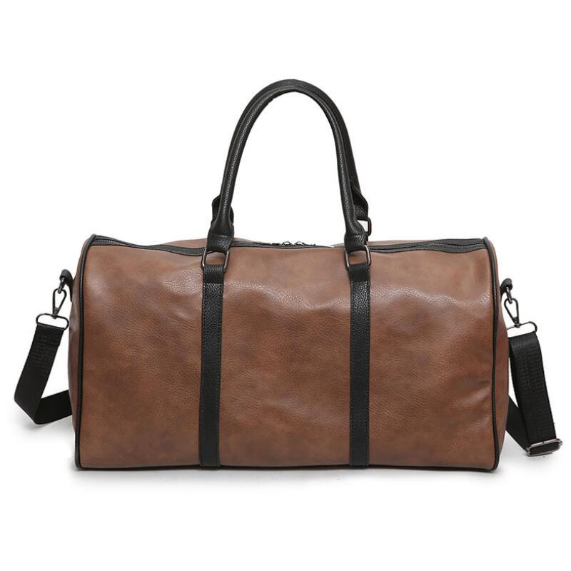 Nouveau PU cuir hommes solide couleur voyage sacs grande capacité décontracté minimaliste sac mâle voyage épaule diagonale paquet