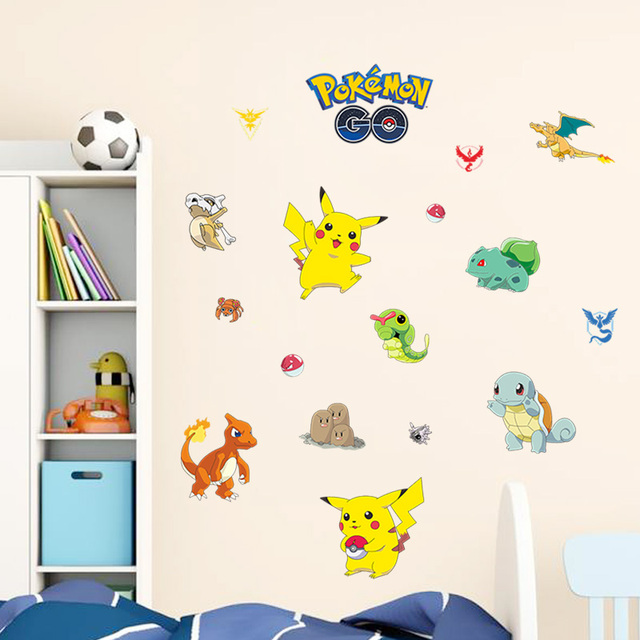 Cartoon Pokemon Go Wall Stickers For Kids Rooms Pikachu Wall Decal Poster  Art Window Nursery Room