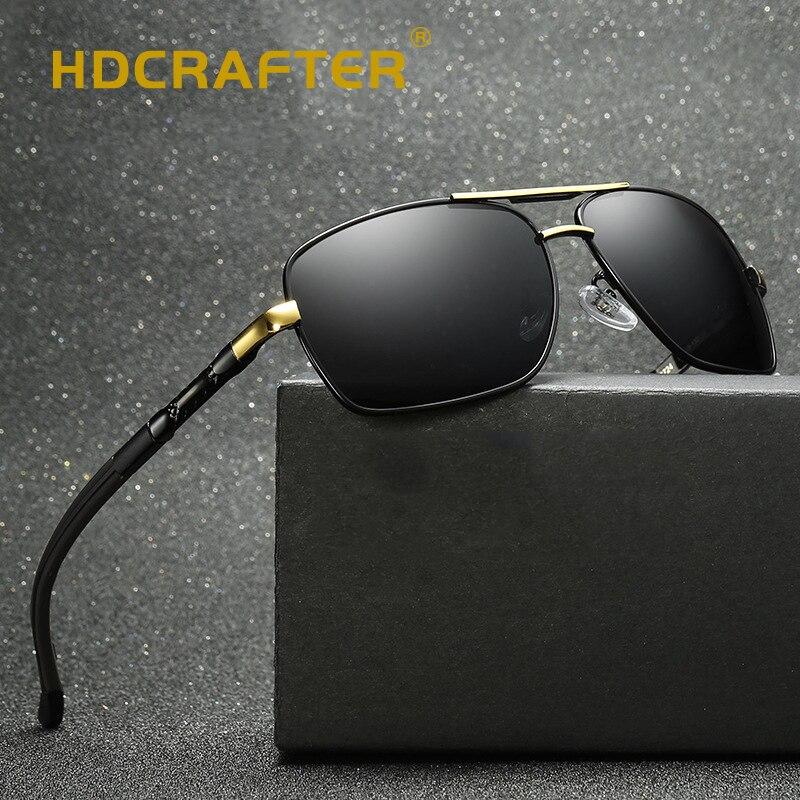 Pilot Sunglasses Men Polarized Classic Retro Driving Sun Glasses For Men Rectangle UV400 Coating Mirrored Driving Eyewear