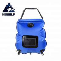 Hewolf Outdoor Shower Bag 20L Portable Shower Bag Solar Heating Water Bag Foldable Pocket Shower Bag Family Camping Beach