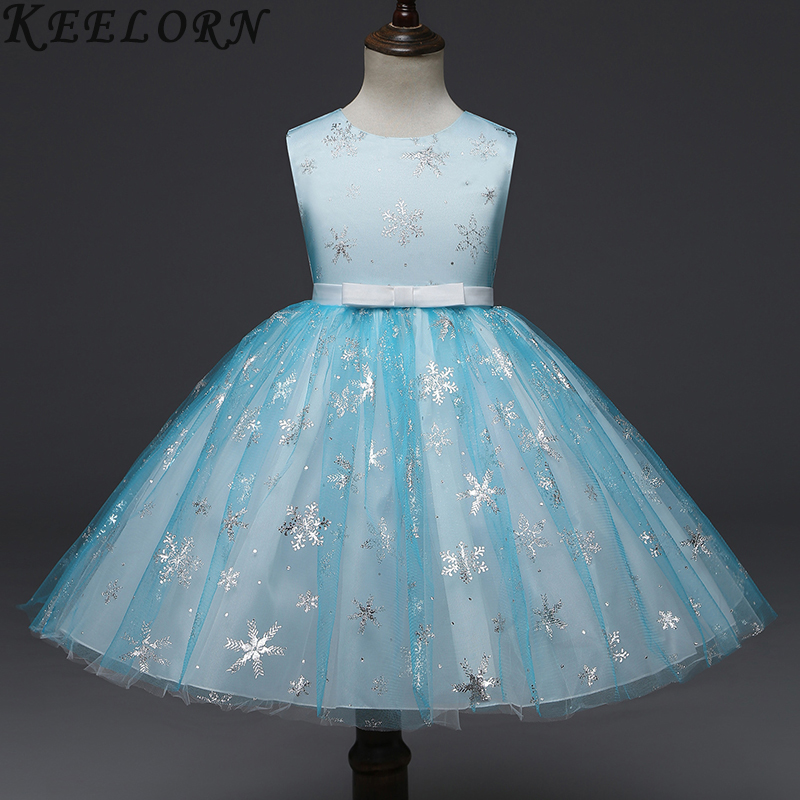 Girls Dress 2018 Autumn Wedding Dress Lace Kids Princess Dress Snowflake Print Pattern Party Dress Girl Costumes palm print cami dress