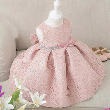 Free Shipping Baby Toddler Girls 1st BIrthday Princess Dress Girls Sweet Sleeveless Lace Dress Kids Fashion Clothing