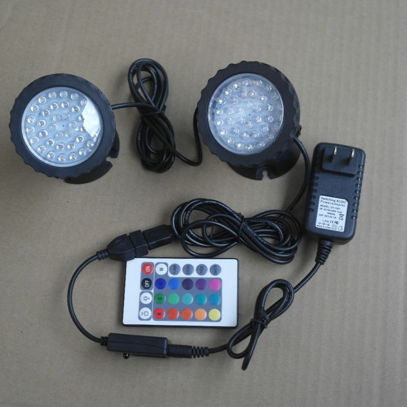 One-driving-two led aquarium light RGB Submersible Spotlights Garden Pond Pool Underwater Bulb fish tank lamp EU UK US AU Plug