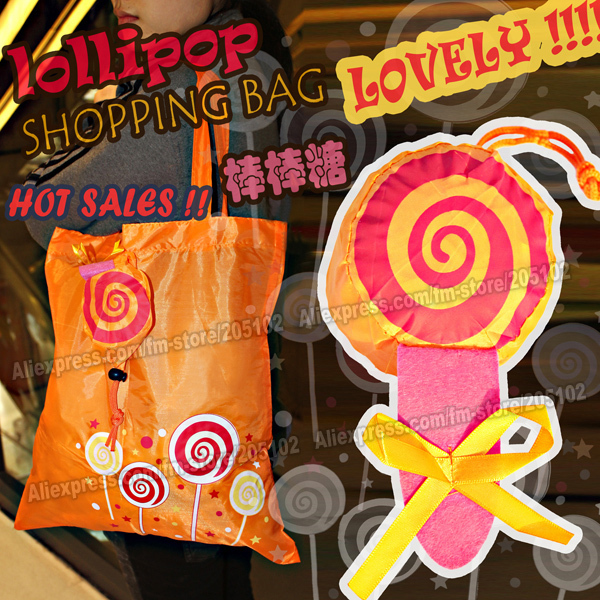 Fashion lovely Lollipop fabric shopping bag, Eco-friendly folding reusable Portable handle Bag Polyester for Travel Grocery