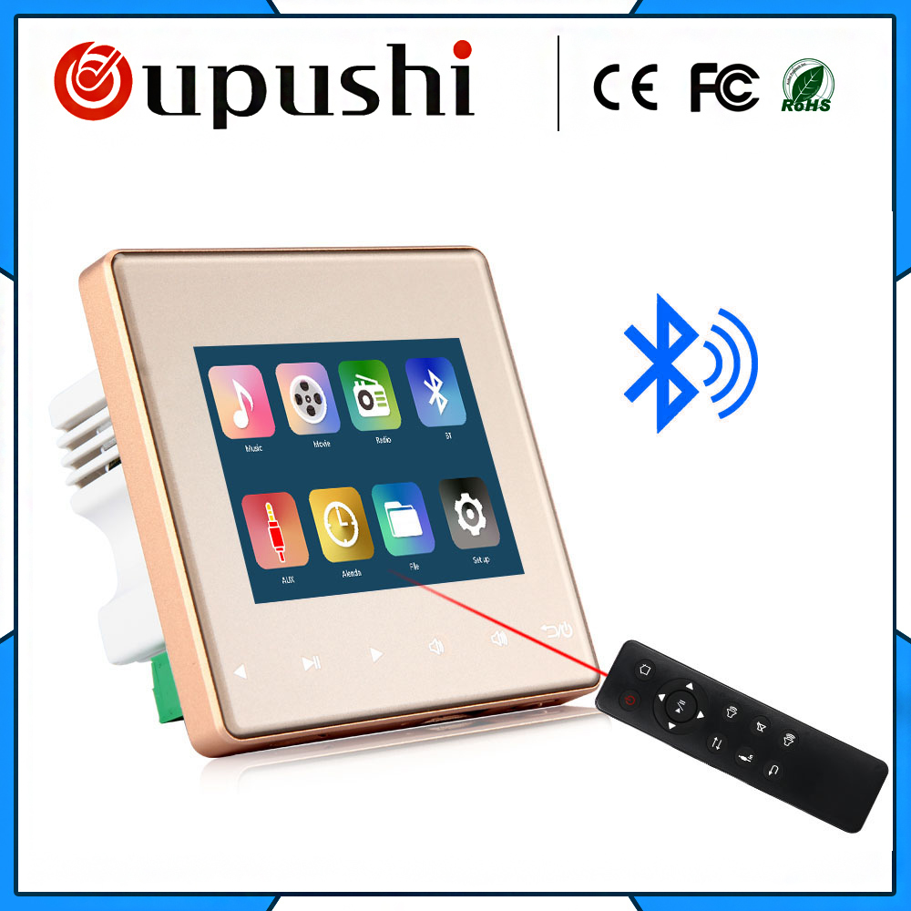 Casa de Áudio visual em amplificadores de parede, FM/SD/AUX IN/USB Leitor de Música, amplificador digital estéreo Bluetooth, sistema de home theater cinema