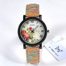Fashion Wood Flower Pattern Ladies Watch Women Casual PU Band Sport Quartz Watch Diverse Dial Dress Wristwatch relogio feminino
