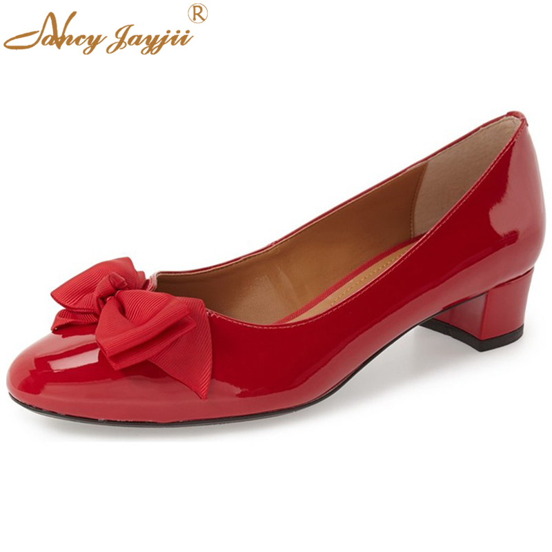 ФОТО Butterfly-knot Vintage Pumps Shoes Women Footwear Classic Patent Leather Slip-On Pumps Low Heels Shoes Red Zapatos Cuna Mujer