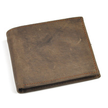 Mens Leather Wallet Retro Crazy Horse Handmade Long 6087