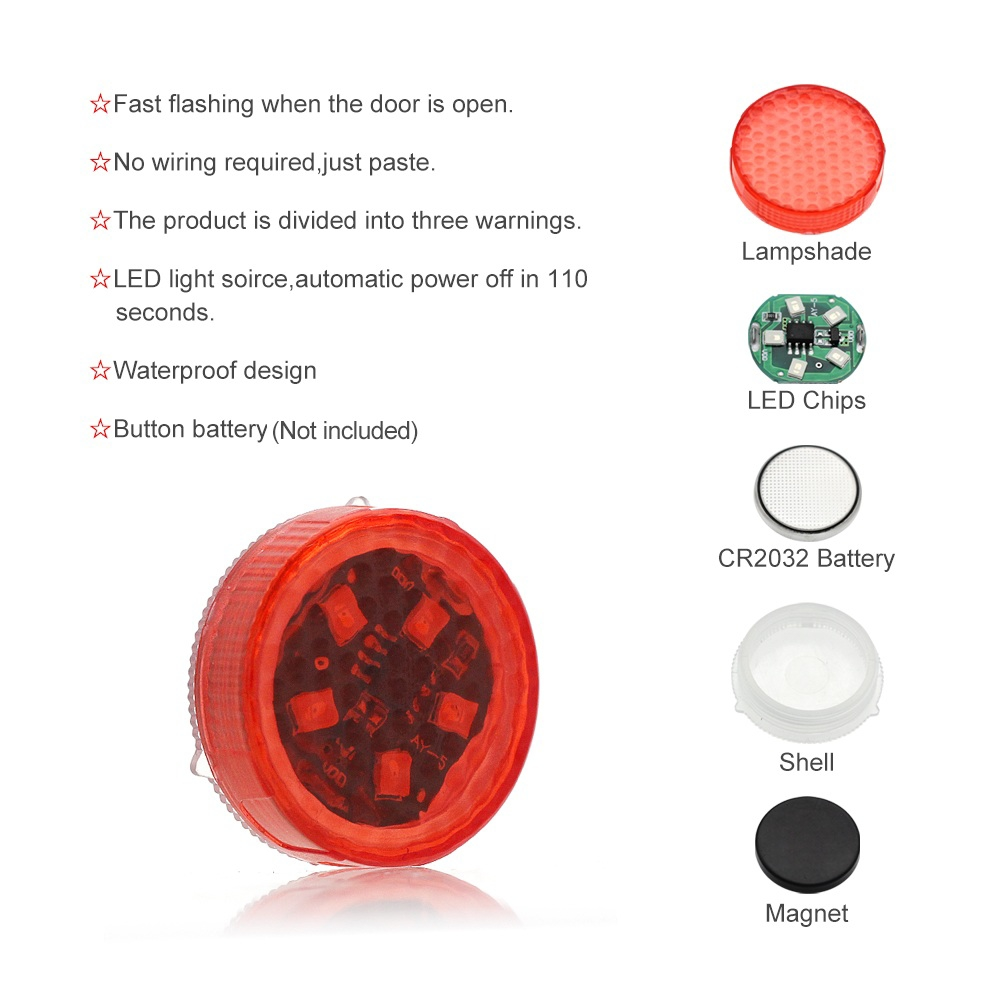 Image 4 - NEW 5 LEDs Car Door Opening Warning Lights Wireless Magnetic Induction Strobe Flashing Anti Rear end Collision Safety Lamps-in Decorative Lamp from Automobiles & Motorcycles