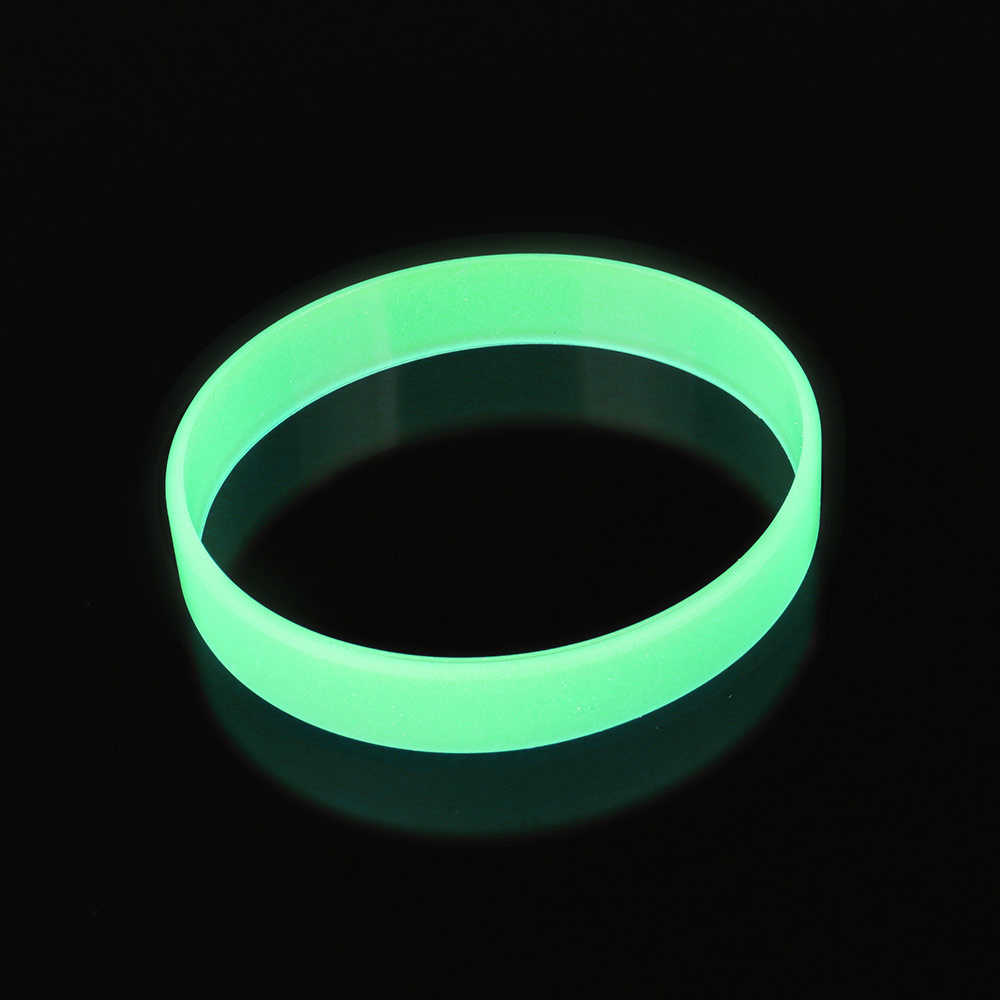 Blue Yellow Green Glow In The Dark Width Rubber Hand Bands Silicone Bracelets Elastic Wristband 12x2mm 6color Bracelet