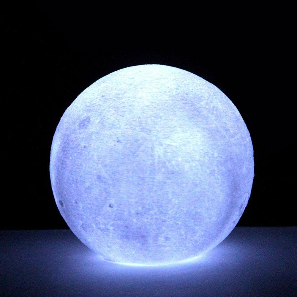 3D принт многоцветный настольная лампа светодиодный луна светильник Ночной светильник луна светильник личность лунный светильник луна светильник домашний декор - Цвет: White