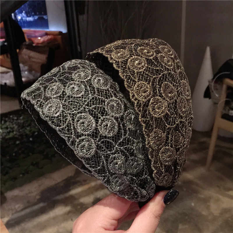 ファッション豪華なレースの花の髪フープヘッドバンドヘアバンド女性のための女の子広いエッジボヘミアヘアバンドヘアアクセサリー