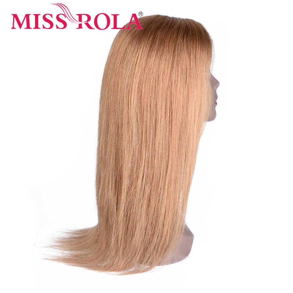 Miss Rola, pelo brasileño Remy liso 4*4, peluca con malla frontal, 5 colores, pelucas de cabello humano con encaje frontal, 150% de densidad, Rosa T1B/99j #27