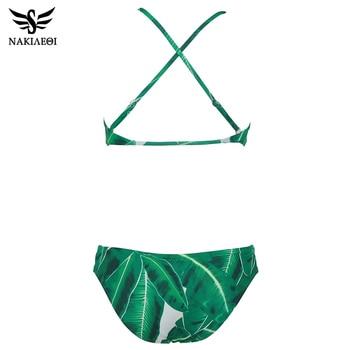 NAKIAEOI Sexy High Neck Bikini Swimwear Women Swimsuit 2019 Summer Brazilian Bikini Set Green Leaf Beach Wear Bathing Suits Swim 5