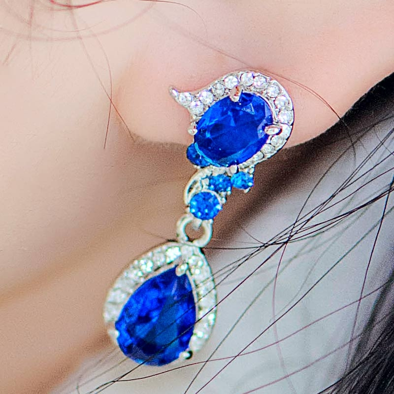 Boucles d'oreilles en cristal de mariage pour femmes longues boucles d'oreilles coréenne femme tempérament mode boucle d'oreille mariée mariage bijoux personnalisés rouge - 4