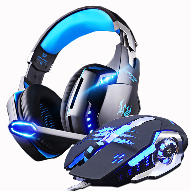 Gaming Headset + Gaming Mouse 3200DPI Bass Game Headphones Earphone With Microphone+Gamer Mice LED Light Wired for PC Laptop image