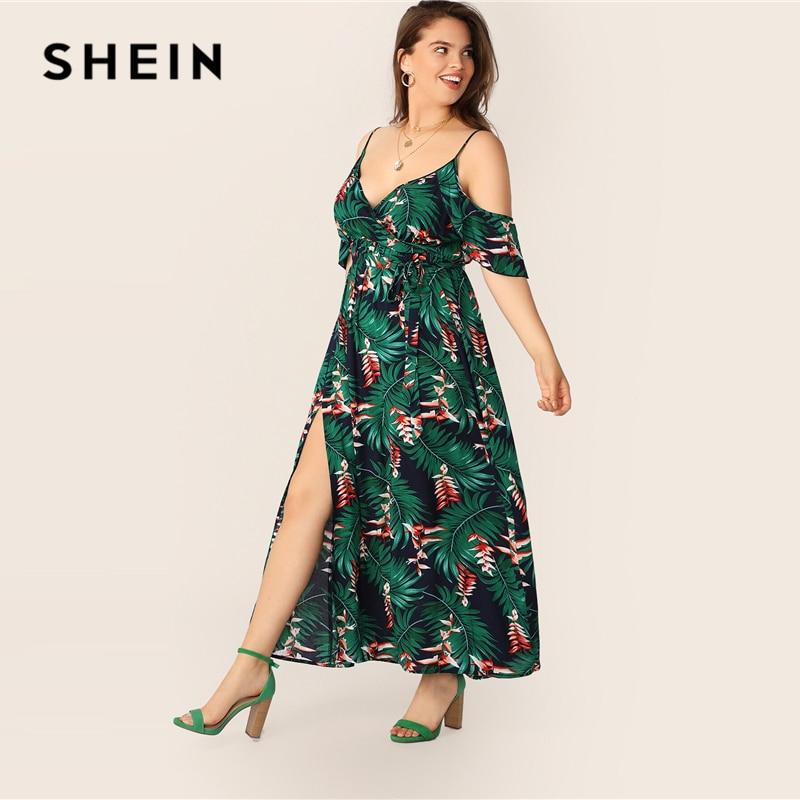 SHEIN Plus Size Multicolor Cold Shoulder Tropical Print Belted Split Maxi Dress 2019 Women Summer Boho Spaghetti A Line Dresses