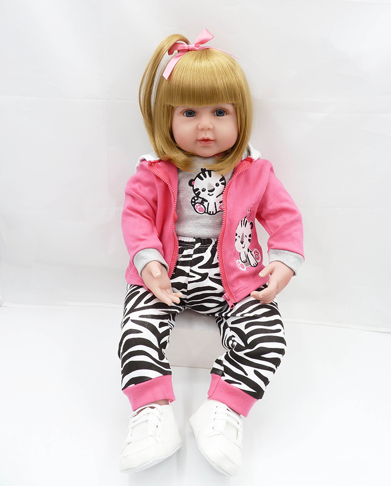 Pursue 24/60 cm Silicone Reborn Babies Blond Hair Blue Eyes Soft Body Matching Clothes Like Real Toddler Girl Gifts For Girls цена