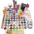Colored Acrylic Powder Liquid Brushes For Nail Tips Rhinestones Ball Buffer File Glue Cutter Hexagon Glitter Nail Art Design