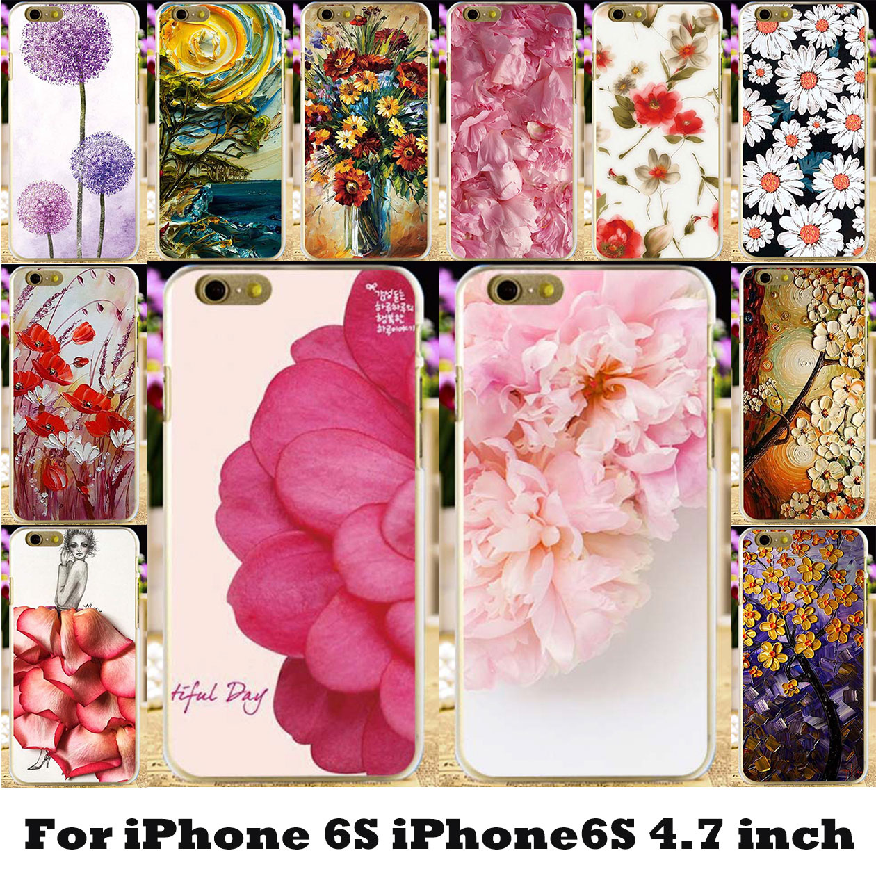 TAOYUNXI Flowers Painted Cases For Apple iPhone 6 6S 66S 6G iphone6 Covers Hard Silicone ...