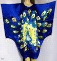 Синий Китайских женщин Живопись Одеяние Шелковый Район Ванна Платье Ночная Рубашка Юката Цветок Один Размер Бесплатная Доставка S4013