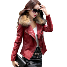 2019 Autumn New Women Genuine Racoon Dog Fur Collar Leather Jacket Slim Stand Plus Cotton Motorcycle S-5XL