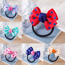 Sale 1PC Korean Dots Bow Elastic Hair Rope For Girls Handmade Child Headband Red Blue