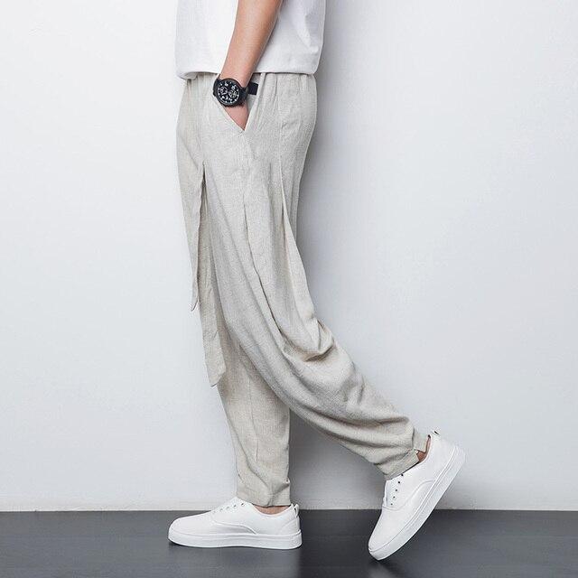 Китайский стиль белье мужские случайные штаны 2016 летние тонкие дышащие комфорт мужской свободные шаровары плюс размер М-4XL, A90