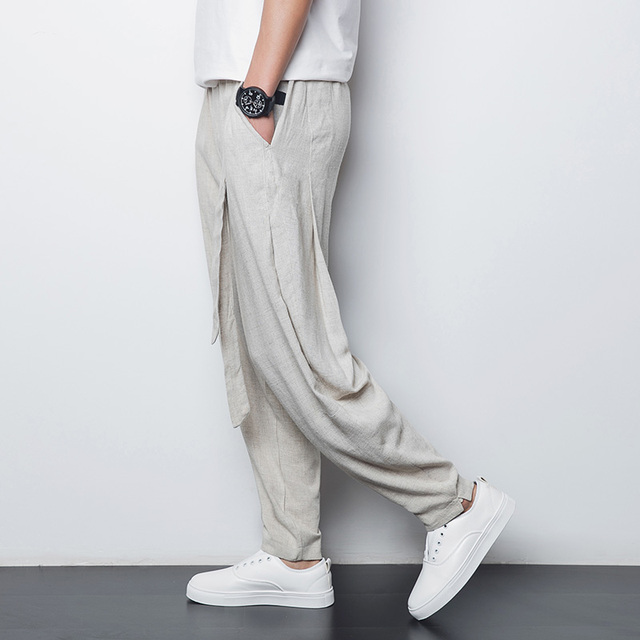 Chinese style linen men's casual pants 2016 summer thin breathable comfort male loose harem pants plus size M-4XL,A90