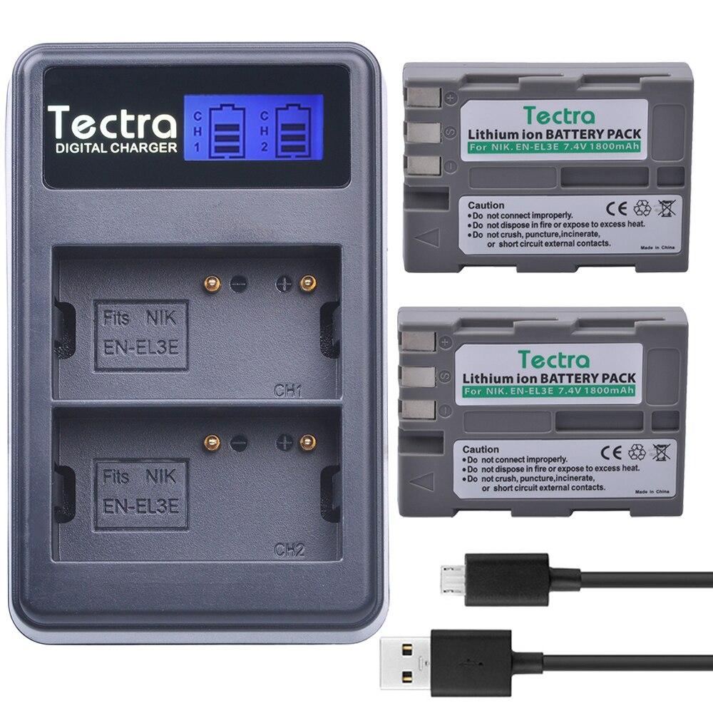 Tectra 2 шт. <font><b>EN</b></font>&#8211;<font><b>EL3e</b></font> <font><b>en</b></font> <font><b>el3e</b></font> 1800 мАч/литий-ионный Батареи для камеры + ЖК-дисплей USB двойной Зарядное устройство для <font><b>Nikon</b></font> D30 D50 d70 D90 D70S D300 300 s